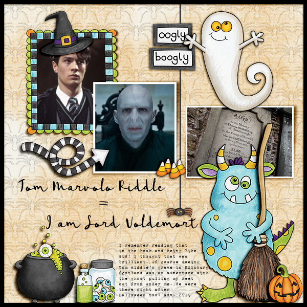 """Halloween scrapbook page created with the """"Oogly Boogly"""" digital scrapbooking kit from Kate Hadfield Designs – fun ideas for Halloween scrapbook pages! #digitalscrapbooking Layout created by Creative Team member Christa"""