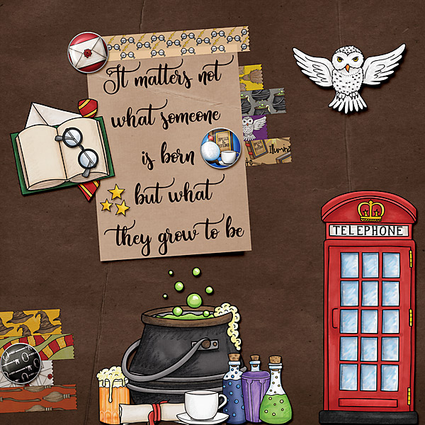 """Wizarding scrapbook pages created with the """"Wizardry"""" digital scrapbooking kit from Kate Hadfield Designs – fun ideas for Harry Potter scrapbook pages! Layout created by Creative Team member Cindy"""