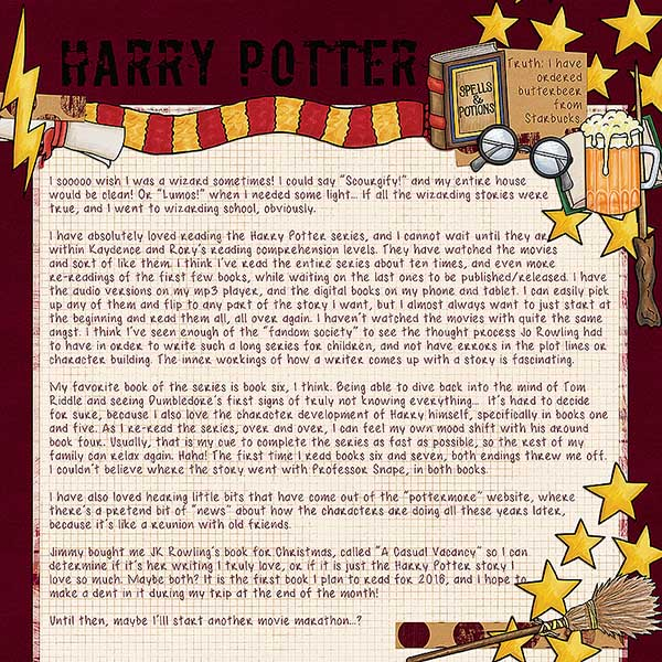 """Wizarding scrapbook pages created with the """"Wizardry"""" digital scrapbooking kit from Kate Hadfield Designs – fun ideas for Harry Potter scrapbook pages! Layout created by Creative Team member Kristina"""