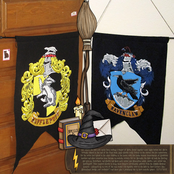 """Wizarding scrapbook pages created with the """"Wizardry"""" digital scrapbooking kit from Kate Hadfield Designs – fun ideas for Harry Potter scrapbook pages! Layout created by Creative Team member Molly"""