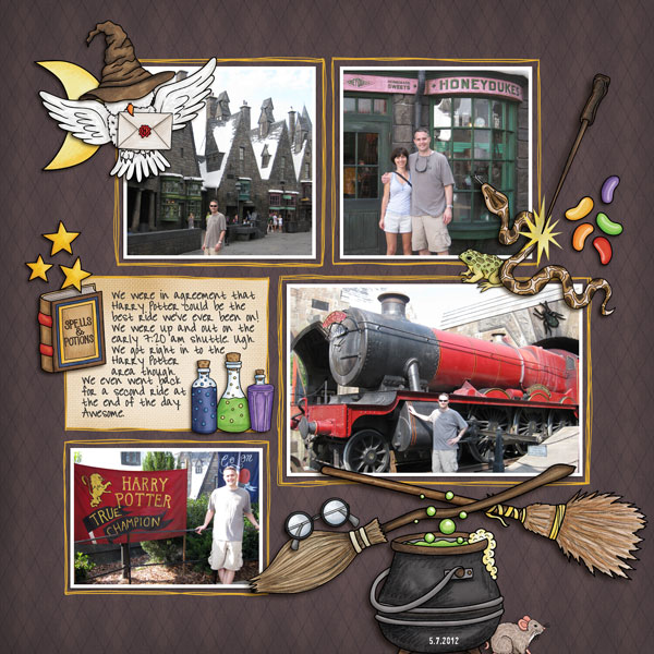 """Wizarding scrapbook pages created with the """"Wizardry"""" digital scrapbooking kit from Kate Hadfield Designs – fun ideas for Harry Potter scrapbook pages! Layout created by Creative Team member Nicole"""