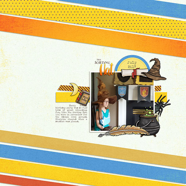 """Wizarding scrapbook pages created with the """"Wizardry"""" digital scrapbooking kit from Kate Hadfield Designs – fun ideas for Harry Potter scrapbook pages! Layout created by Creative Team member Sara"""