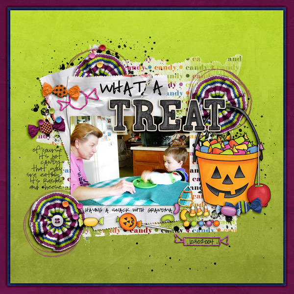 "Halloween scrapbook page created with the ""Trickity Treat"" digital scrapbooking kit by Kate Hadfield and Kim Jensen – fun ideas for Halloween scrapbook pages! Layout created by Creative Team member Keela"