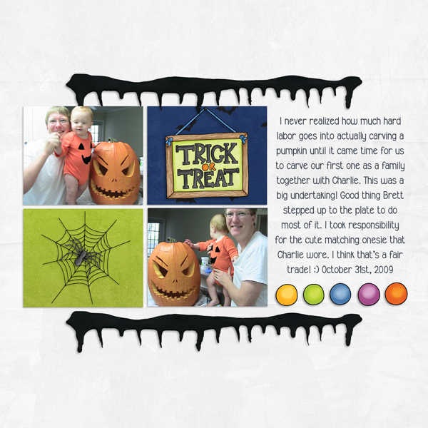 "Halloween scrapbook page created with the ""Trickity Treat"" digital scrapbooking kit by Kate Hadfield and Kim Jensen – fun ideas for Halloween scrapbook pages! Layout created by Creative Team member Molly"