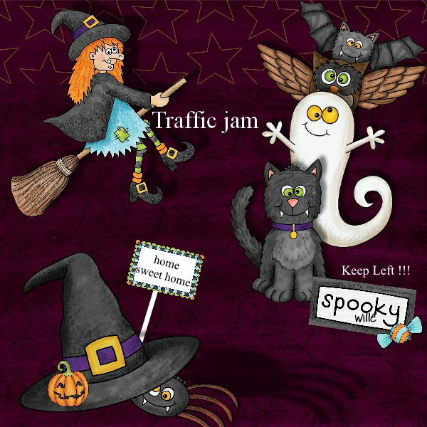 """Halloween scrapbook page created with the """"Oogly Boogly"""" digital scrapbooking kit from Kate Hadfield Designs – fun ideas for Halloween scrapbook pages! #digitalscrapbooking Layout created by Creative Team member Vivi"""