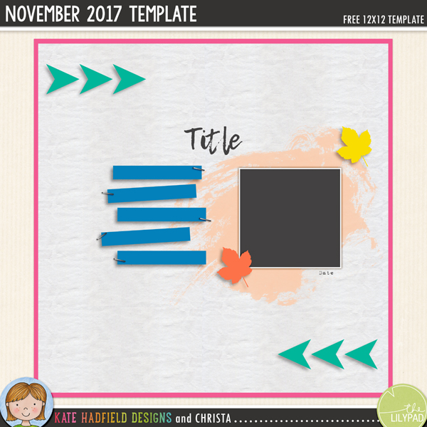 Free digital scrapbooking template / scrapbook sketch from Kate Hadfield Designs! Click for scrapbook pages created using this template!
