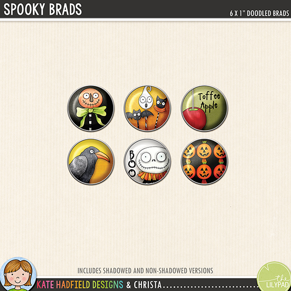 Halloween brads digital scrapbooking elements freebie! Add a doodled touch to you pages and projects with this fun Spooky Brads! Hand-drawn kits for digital scrapbooking and hybrid crafting from Kate Hadfield Designs.
