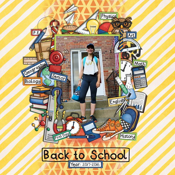School scrapbook pages and ideas for back to school scrapbooking from the Kate Hadfield Designs Creative Team! #digitalscrapbooking #scrapbook Layout created by CT member Jan