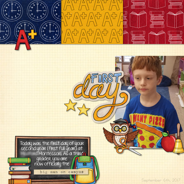 School scrapbook pages and ideas for back to school scrapbooking from the Kate Hadfield Designs Creative Team! #digitalscrapbooking #scrapbook Layout created by CT member Molly