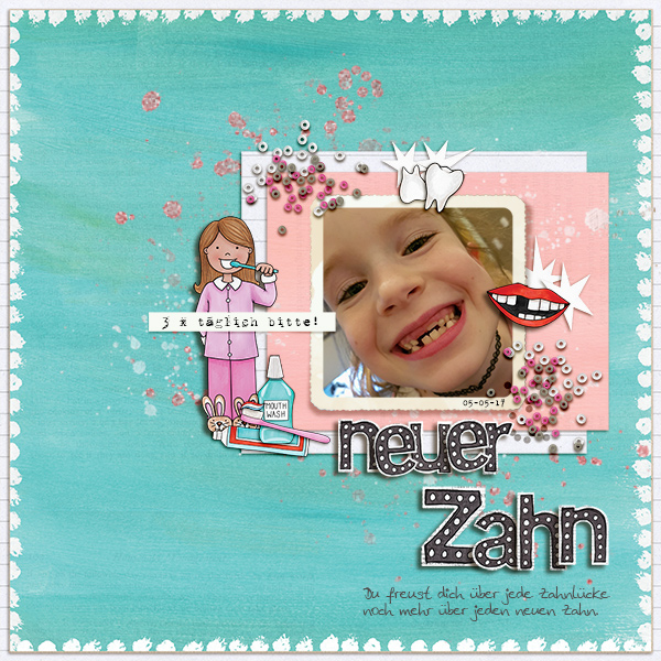 Digital scrapbooking page created with this month's free template from Kate Hadfield – fun ideas for scrapbook pages! Layout created by Creative Team member Birgit