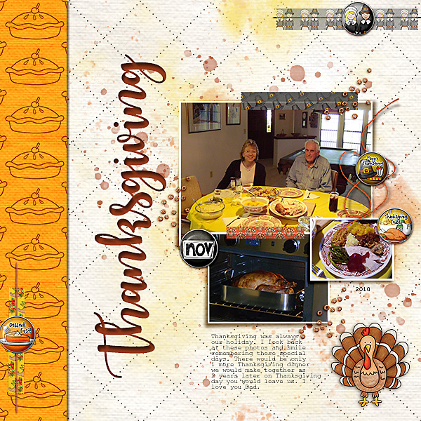 "Thanksgiving scrapbook page created with the ""Thankful Brads & Tapes"" digital scrapbooking elements from Kate Hadfield – ideas and inspiration for Thanksgiving scrapbooking! Layout created by Creative Team member Christa"