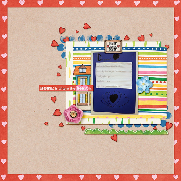 Digital scrapbooking page created with this month's free template from Kate Hadfield – fun ideas for scrapbook pages! Layout created by Creative Team member Lorry