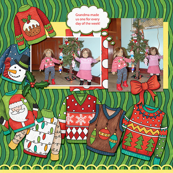 Christmas Sweater scrapbook page created with digital scrapbooking kits from Kate Hadfield Designs – ideas and inspiration for Christmas scrapbook layouts! Layout created by Creative Team member Amy