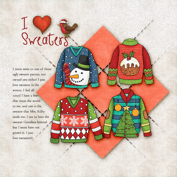 Christmas Sweater scrapbook page created with digital scrapbooking kits from Kate Hadfield Designs – ideas and inspiration for Christmas scrapbook layouts! Layout created by Creative Team member Christa