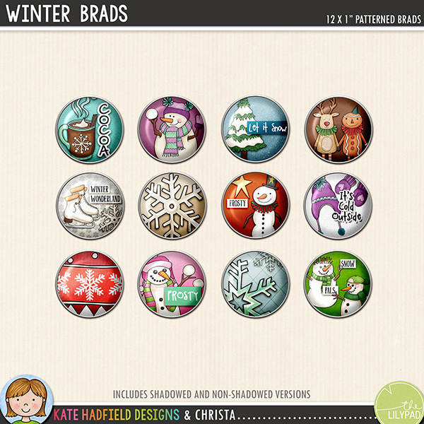 Winter Brads digital scrapbook elements - perfect for scrapbooking your winter memories! Hand-drawn digital scrapbook kits from Kate Hadfield Designs.