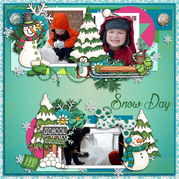 Winter scrapbook page created with digital scrapbooking kits from Kate Hadfield Designs – fun ideas and inspiration for scrapbooking your winter memories! Layout by Creative Team member Lisa