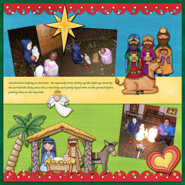 Nativity scrapbook page created with digital scrapbooking kits from Kate Hadfield Designs – ideas and inspiration for scrapbooking the Christmas story. Layout by Creative Team member Amy