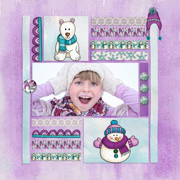 Winter scrapbook page created with digital scrapbooking kits from Kate Hadfield Designs – fun ideas and inspiration for scrapbooking your winter memories! Layout by Creative Team member Stacey