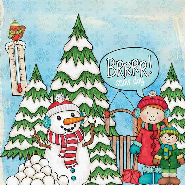 "Winter scrapbook page created with the ""Wrap Up Warm"" digital scrapbooking elements from Kate Hadfield – fun ideas for winter scrapbook layouts! Layout created by Creative Team member Stacey"