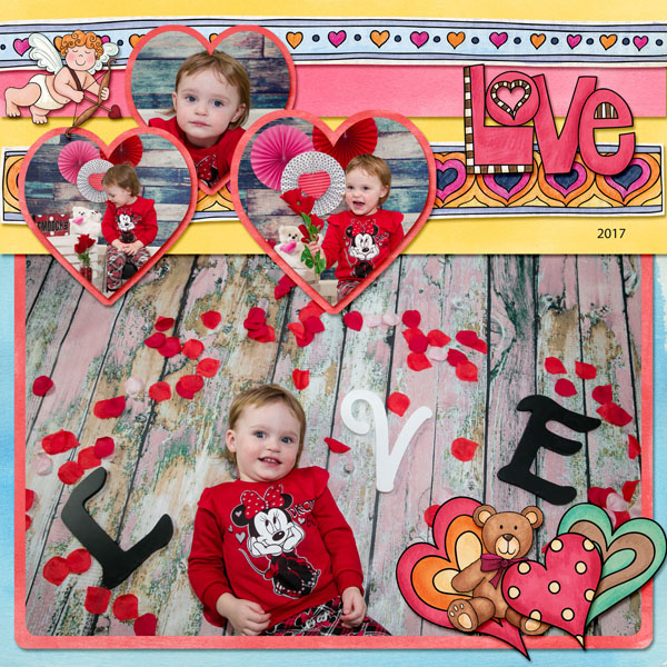 Valentine's digital scrapbook page by amy
