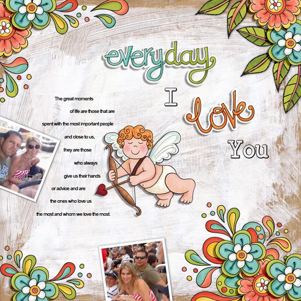 Valentine's digital scrapbook page by Karen