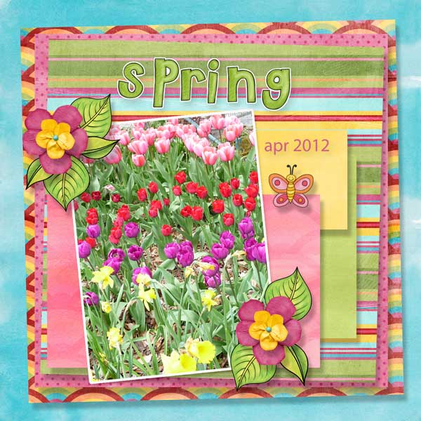 spring digitial scrapbook layout created with free template