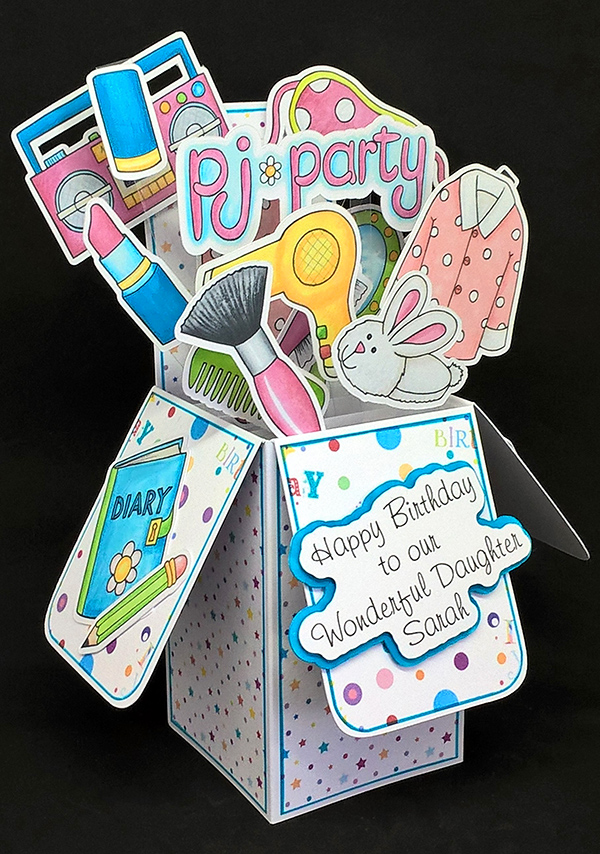 slumber party pop up birthday card