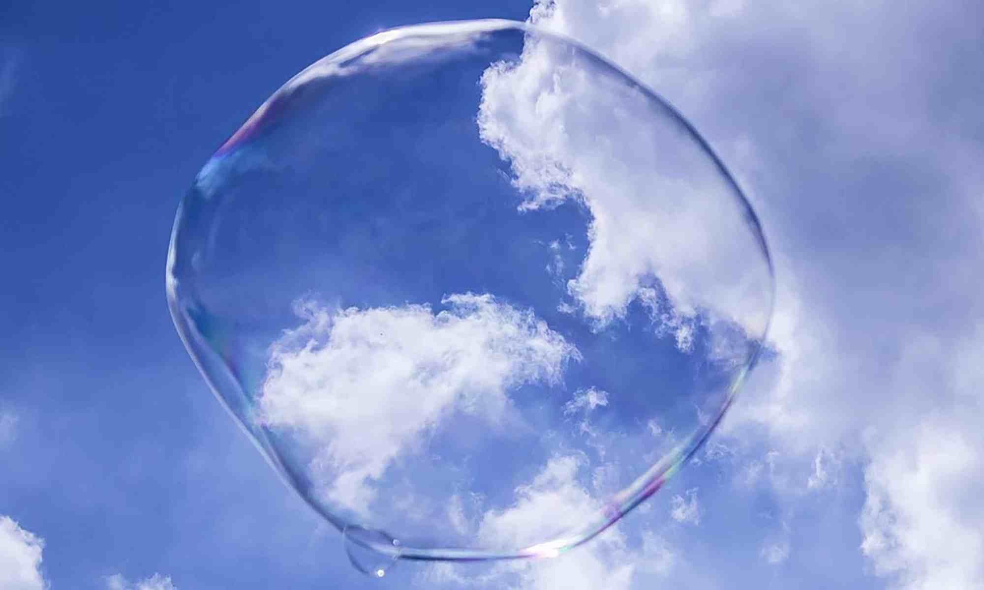 Soap bubble rising into the sky representing clarity
