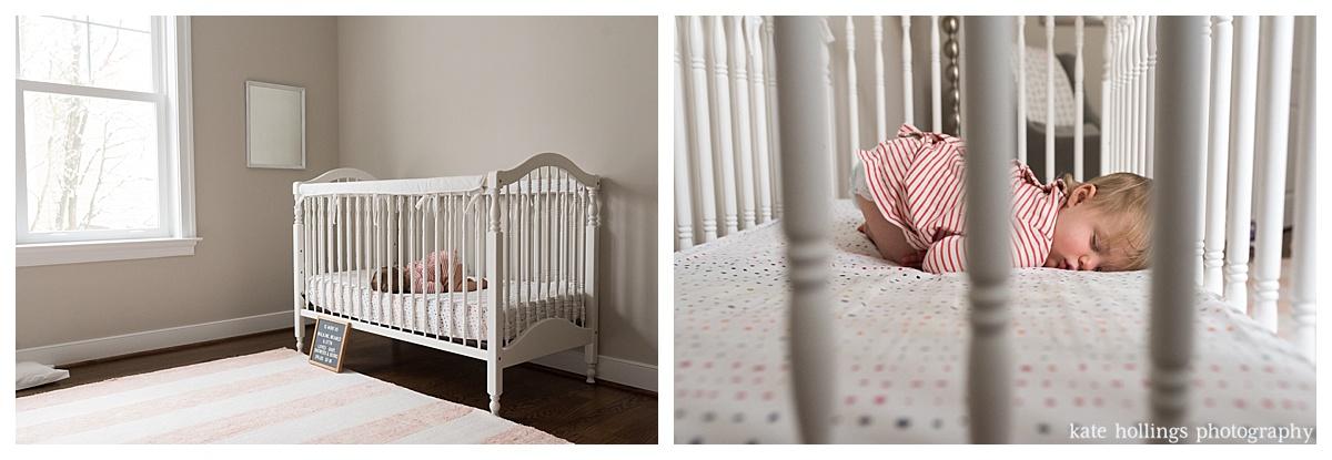 Toddler naps in her nursery