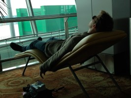 Sean, napping in New Delhi. What a trip!