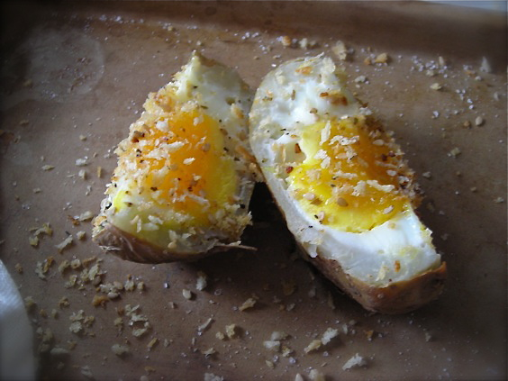 Shirred Eggs Quartered