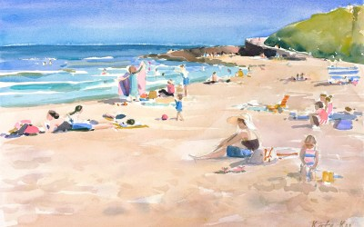 Painting seascape – time-lapse video