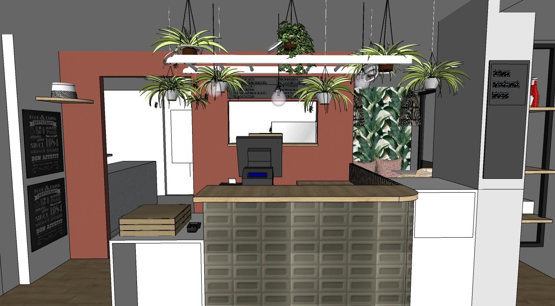 Vue 3D espace accueil | Pizzeria Antho Pizz'