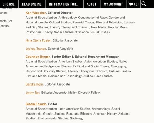 Duke University press acquisitions editors