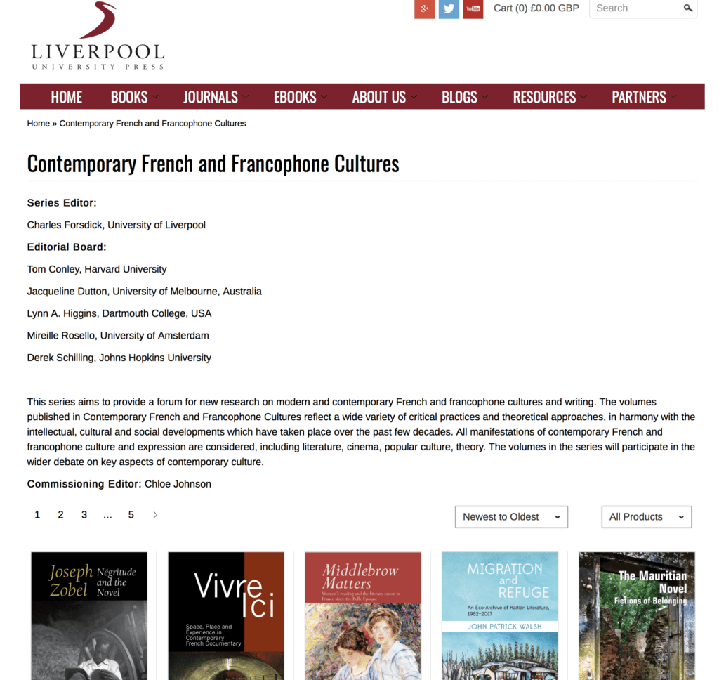 Liverpool Univrersity Press Contemporary French and Francophone Cultures series
