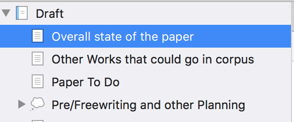 Scrivener Put a Project on hold
