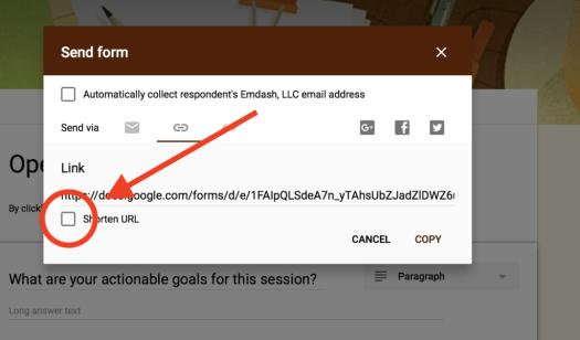 Short URL Google Form
