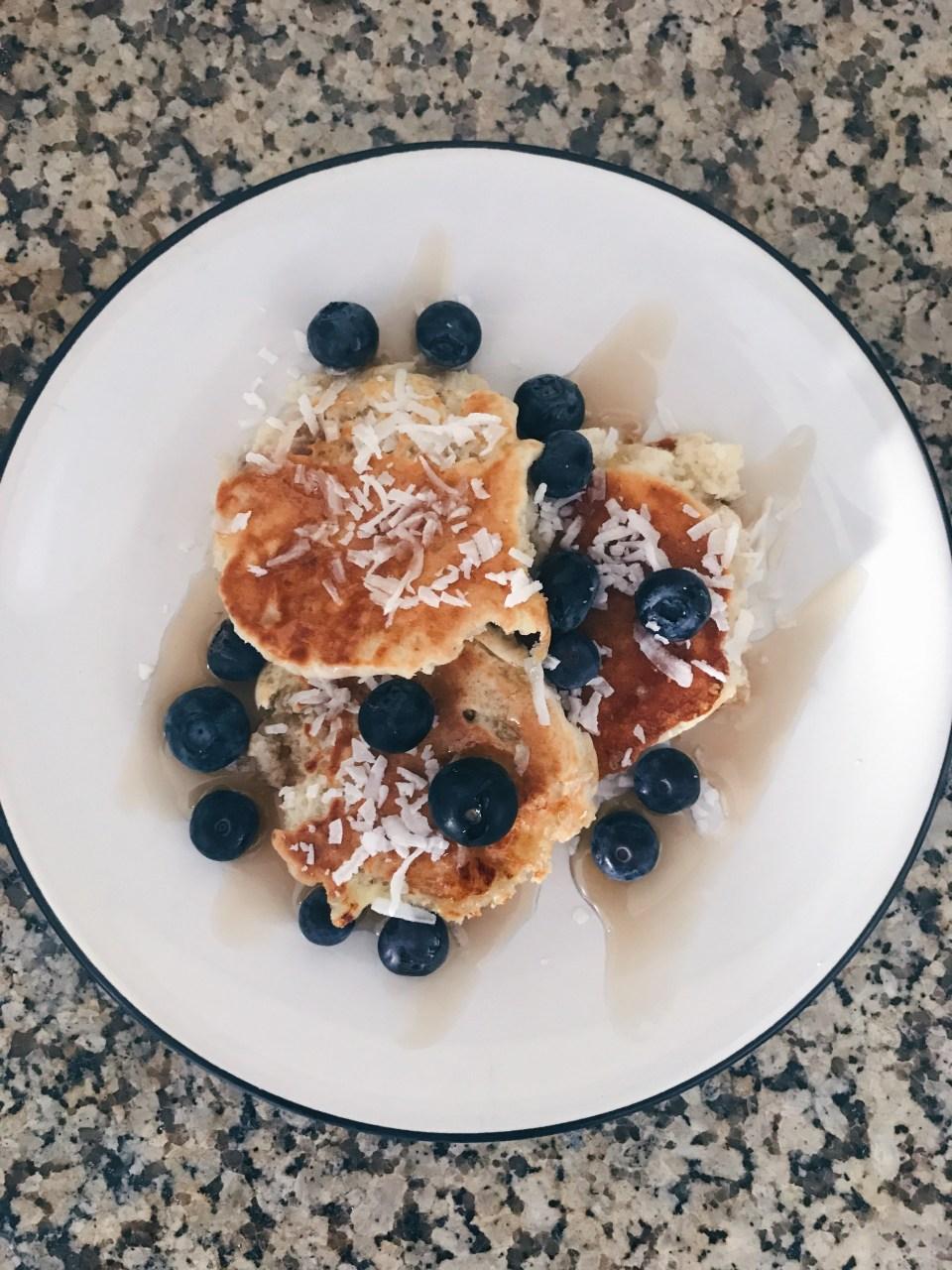 Protein Blueberry Banana Pancakes