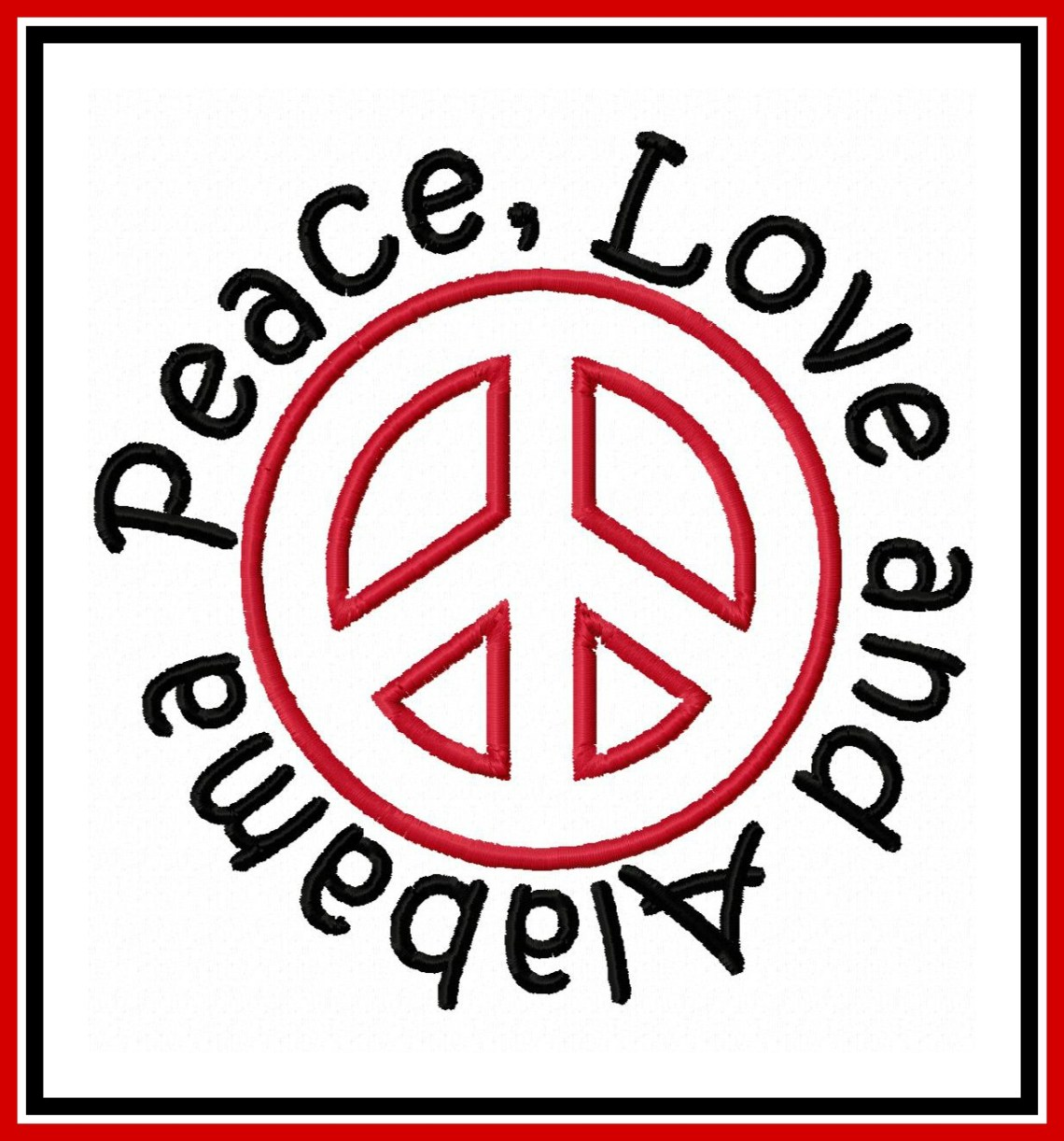 Download Peace Love and Alabama Applique Design