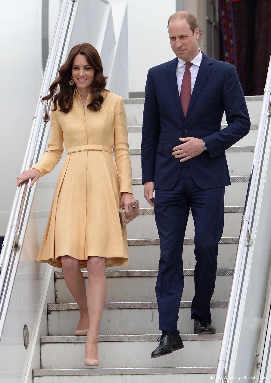 Kate Middleton wearing a yellow Emilia Wickstead coat dress in Bhutan