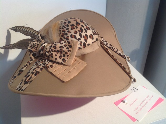 "Lillian Bates, ""What's Under You Hood"" hat made from a bra shown in the ""Bras on Broadway"" breast cancer fundraising exhibit at the Jacoby Arts Center in 2013."