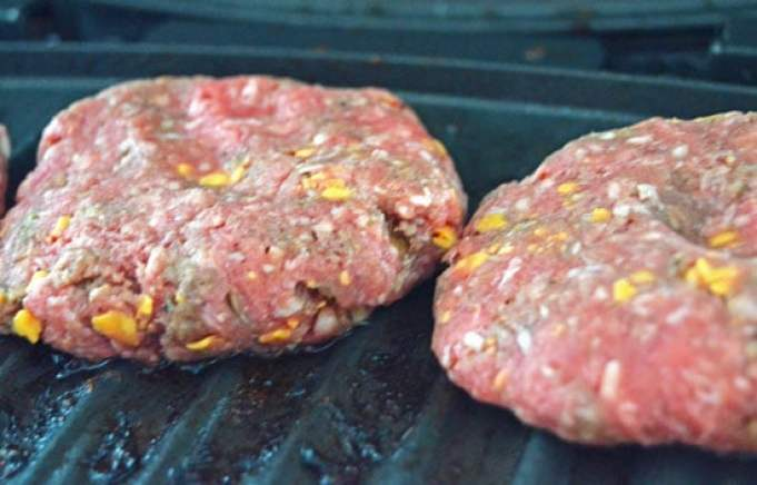 homemade cheddar burgers