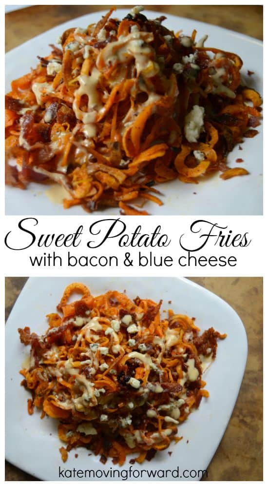 Sweet potato fries topped with bacon and blue cheese sauce