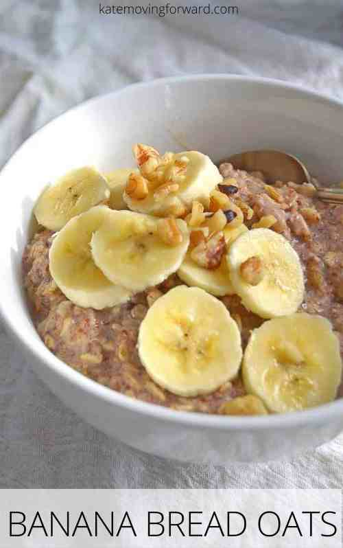 Banana Bread Oatmeal - An easy and incredibly healthy breakfast that tastes just like banana bread! Low in sugar and high in fiber this bowl of oats is a great start to your day! Awesome for increasing breastfeeding supply for nursing moms too!