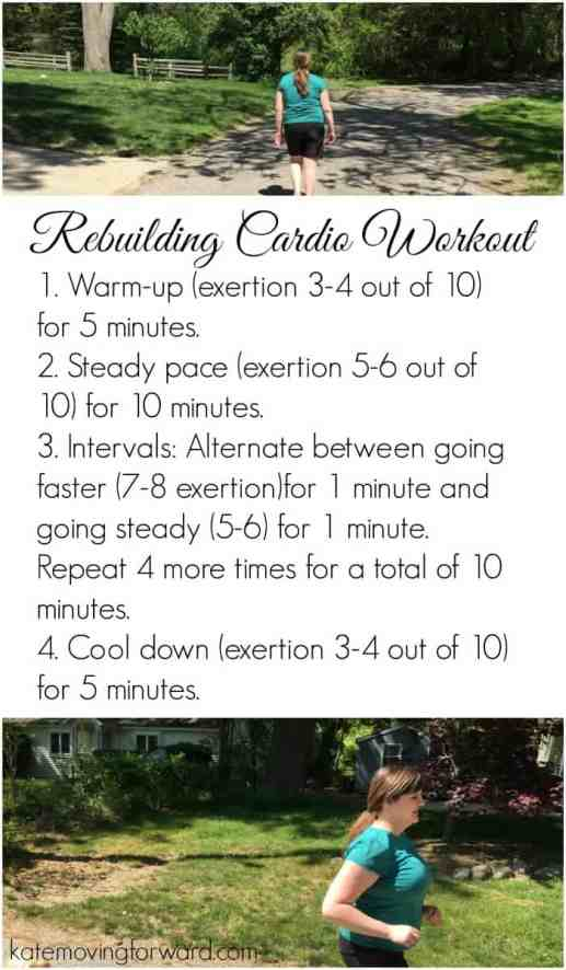 Rebuilding Cardio Workout- A simple timed workout for those just starting out or recovering from injury or break in fitness. Perfect for rebuilding cardio endurance postpartum!