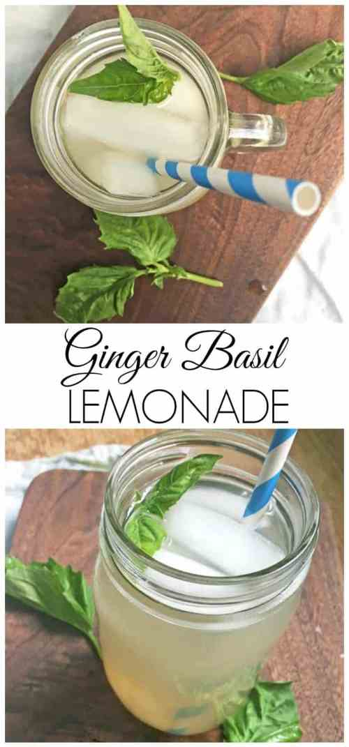Ginger Basil Lemonade - The perfect easy summer drink! It's refreshing and unique thanks to the mix of basil and ginger. I promise, you will want to keep sipping glass after glass!