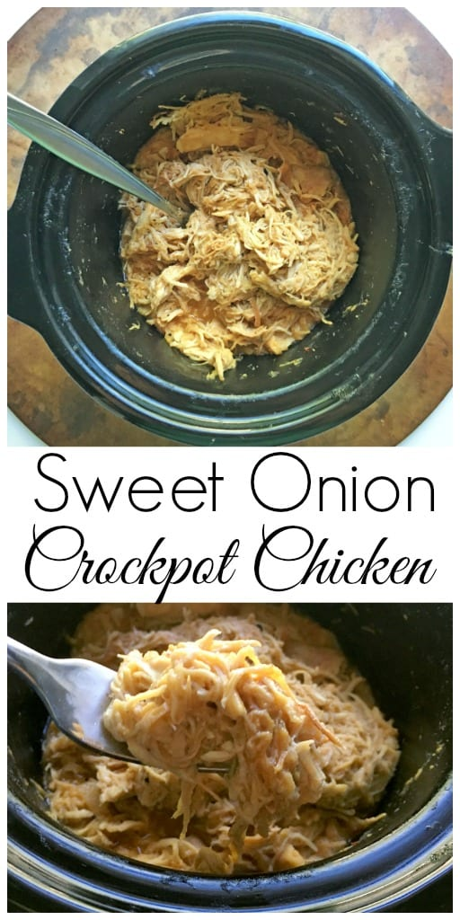 Sweet Onion Shredded Chicken in a Crockpot - An easy and healthy slow cooker dinner that is perfect for a busy weeknight dinner! Love this shredded chicken sandwich!