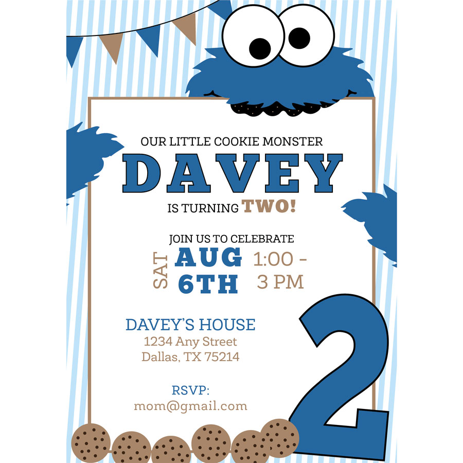 Cookie Monster Birthday Invitation KateOGroup