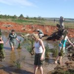 Kate on Conservation planting in a watering hole