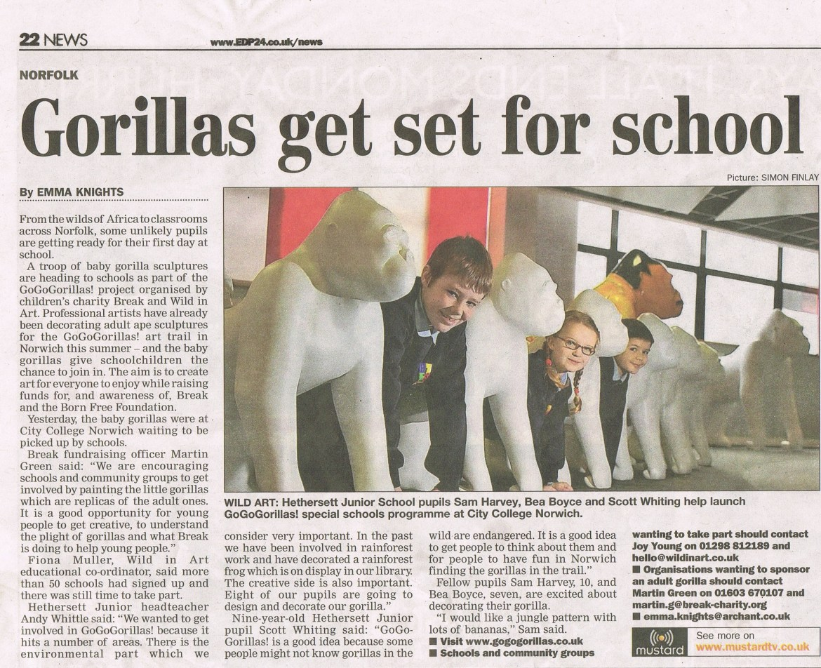 Go Go Gorillas visiting schools - Eastern Daily Press